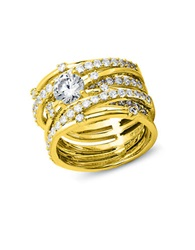 Crislu Center Stone Cubic Zirconia Sterling Silver And 18K Yellow Gold Roxy Stack Ring
