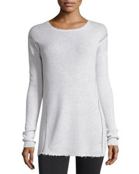 Helmut Lang Long Sleeve Ribbed Wool Sweater Ivory