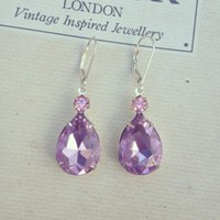 Zt Lilac And Pink Vintage Jewel Earrings Sterling Silver