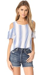 Cooper And Ella Mia Tie Top White Blue