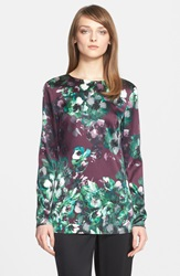 St. John Floral Print Stretch Silk Charmeuse Tunic Mulberry Multi