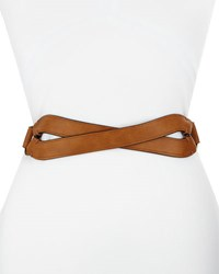 Neiman Marcus Crossed Front Faux Leather Belt Tan
