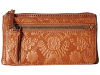 The Sak Sanibel Flap Wallet Tobacco Floral Embossed Wallet Handbags Brown