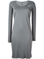 Transit Scoop Neck T Shirt Dress Grey