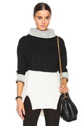 Prabal Gurung Nepalese Cashmere Bi Color Sweater In Black White