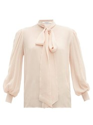 Givenchy Pussy Bow Silk Crepe Blouse Light Pink