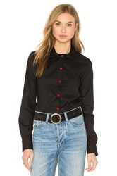 Love Moschino Red Heart Button Up Top Black