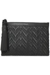 Michael Kors Collection Woman Loren Tassel Trimmed Braided Leather Clutch Black