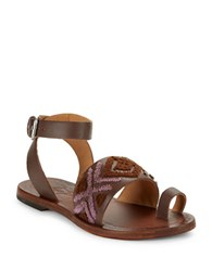 Free People Torrence Leather Toe Ring Sandals Mauve
