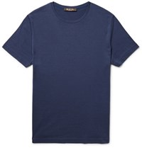 Loro Piana Slim Fit Silk And Cotton Blend T Shirt Blue