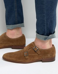 Dune Rhode Island Suede Monk Shoes Tan Beige