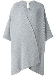 Michael Michael Kors Ribbed Poncho Cardigan Grey