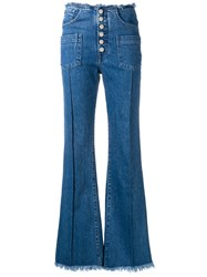 7 For All Mankind Pocket Detailed Flared Jeans Blue