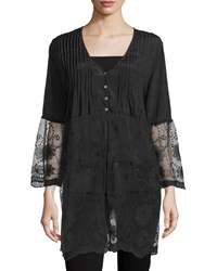 Liquid By Sioni Long Lace Trim Button Front Cardigan Black