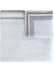 Canali Striped Trim Scarf Blue