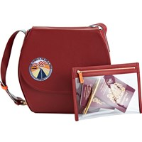 Stow Robyn Crossbody Saddle Bag And See View Travel Pouch Gift Setrich Carmine With Pale Blue Lining
