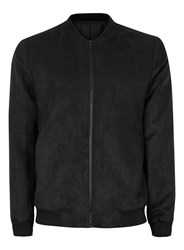 Topman Black Faux Suede Smart Bomber Jacket
