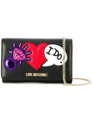 Love Moschino Heart Embellished Chain Wallet Black