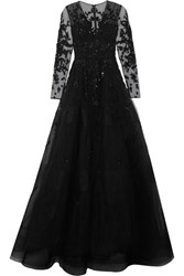Zuhair Murad Embellished Silk Blend Tulle Gown Black