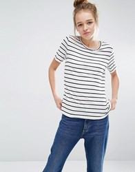 Monki Stripe Scoop Neck T Shirt White Black Stripes
