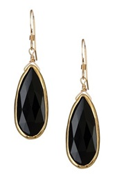 Bb Collection Gold Plated Sterling Silver Onyx Long Teardrop Earrings Black