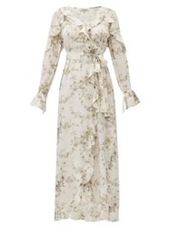 D'ascoli Bedford Floral Print Ruffle Trim Silk Dress Beige