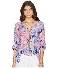 Lilly Pulitzer Willa Top Pelican Pink Head In The Sand Clothing Multi