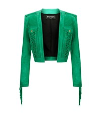 Balmain Suede Fringe Detail Cropped Jacket Female Green