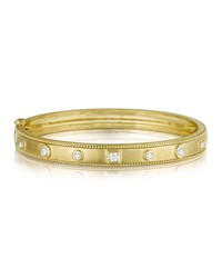 Penny Preville 18K Gold Bangle With Round And Square Diamond Stations