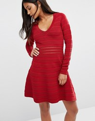 Supertrash Darles Ribbed Skater Skirt Bodycon Dress Red