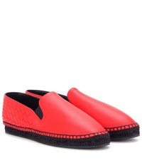 Bottega Veneta Intrecciato Leather Espadrilles Red