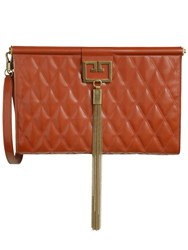 Givenchy Large Gem Quilted Leather Clutch Terracotta