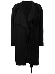 Y's Wrap Front Fringed Coat Black