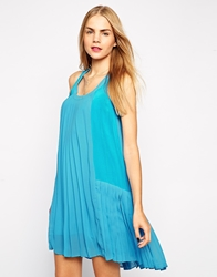 Aryn K Drop Waist Pleated Tank Dress Turquoise