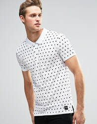 Only And Sons Polka Dot Polo Shirt White