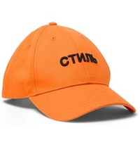 Heron Preston Embroidered Cotton Twill Baseball Cap Orange