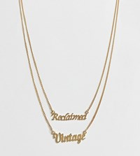 Reclaimed Vintage Inspired Multirow Logo Necklace Gold