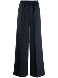 Semicouture Wide Leg Tailored Trousers Blue