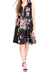 City Chic Plus Size Women's Misty Floral Fit And Flare Dress
