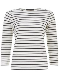 Jaeger Classic Breton Striped Top Ivory Navy