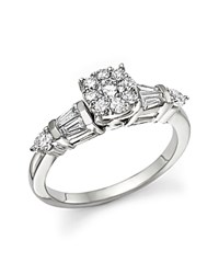Bloomingdale's Certified Diamond Cluster And Baguette Ring In 14K White Gold .75 Ct. T.W.