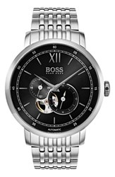 Boss Men's Signature Automatic Bracelet Watch 44Mm Black Silver
