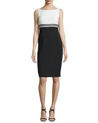Carmen Marc Valvo Sleeveless Two Tone Sheath Dress Ivory Black