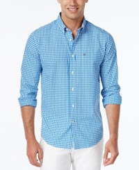 Tommy Hilfiger Men's Long Sleeve Twain Check Classic Fit Shirt Electric Blue