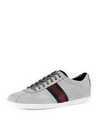 Gucci Bambi Web Low Top Sneaker With Stud Detail Silver
