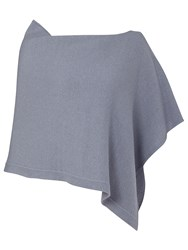 Jigsaw Knitted Ribbed Border Poncho Blue