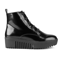 Opening Ceremony Women's Shiny Grunge Leather Lace Up Platform Boots Black