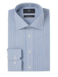 Paul Costelloe Slim Fit Blue Fine Tramline Stripe Shirt