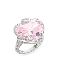Judith Ripka Lola Pink Crystal White Sapphire And Sterling Silver Ring