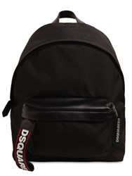 Dsquared Logo Tape Tech Canvas Backpack Black